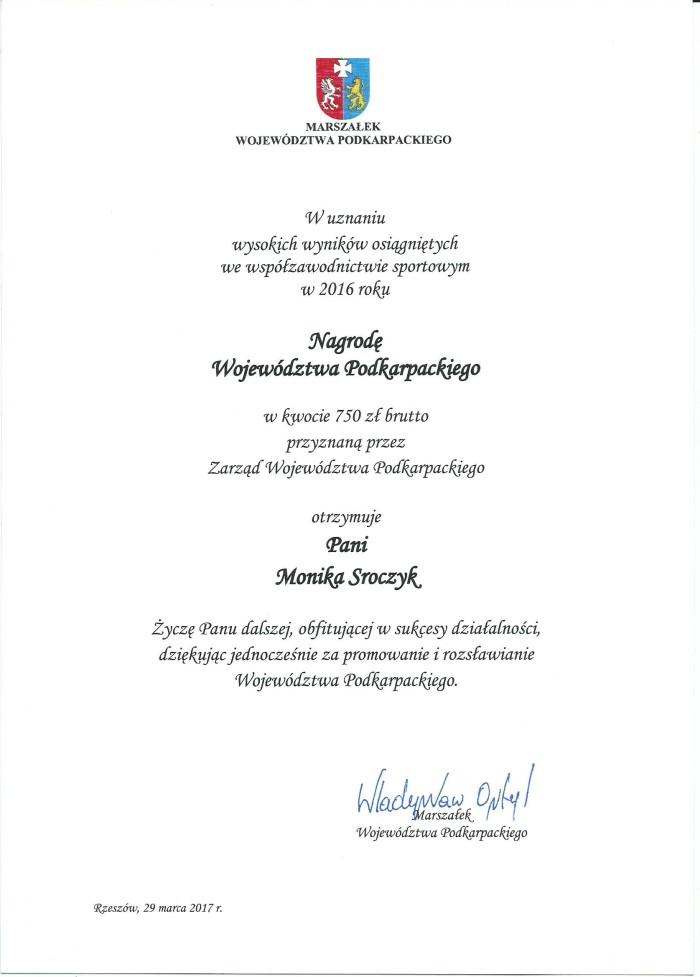 Nagroda W P Monika Sroczyk 29.03.2017r.